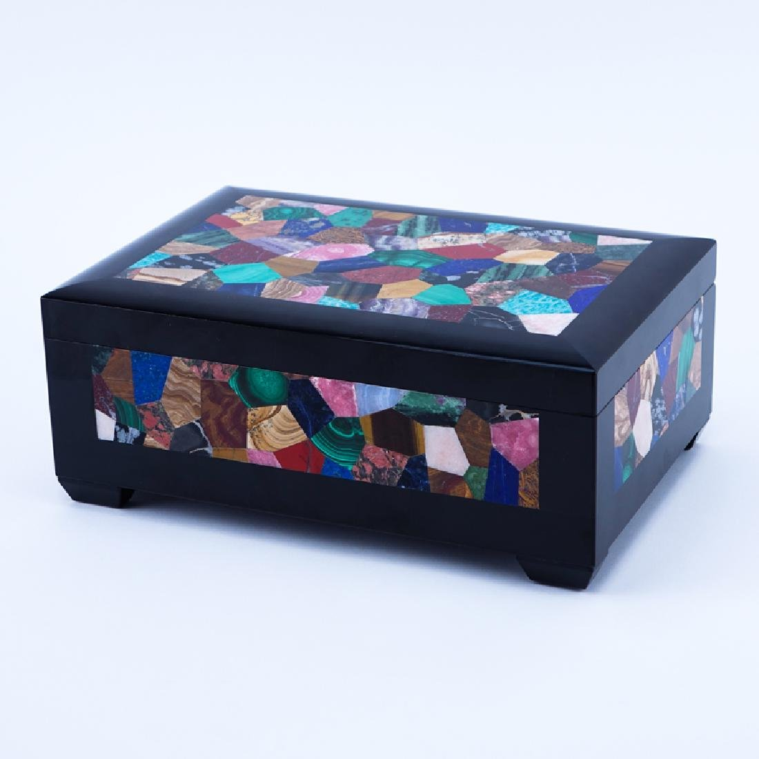 Italian Pietra Dura Inlaid Cigar Box. R Romanelli,