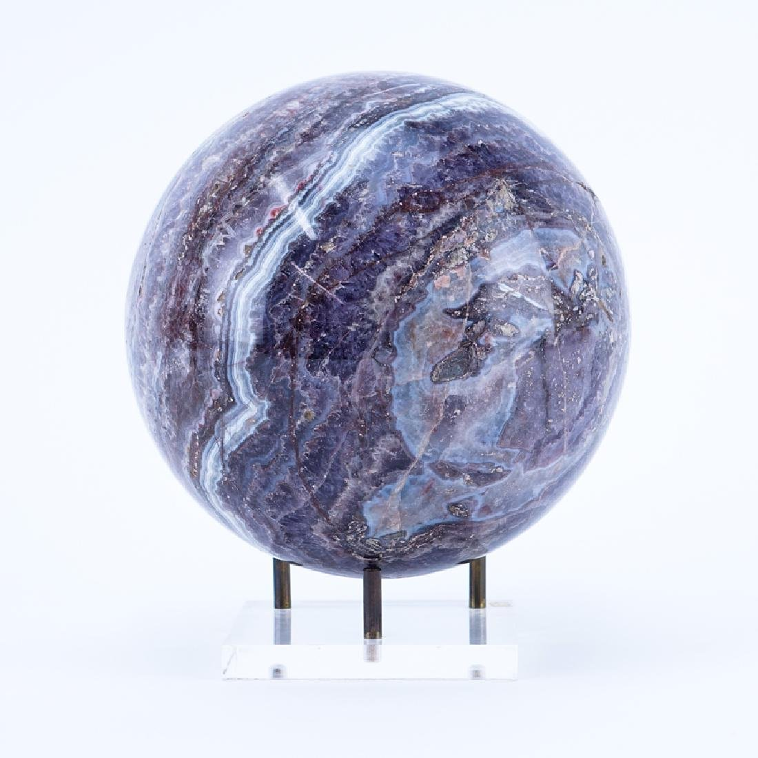Modern Agate Sphere Mineral on Stand. Natural