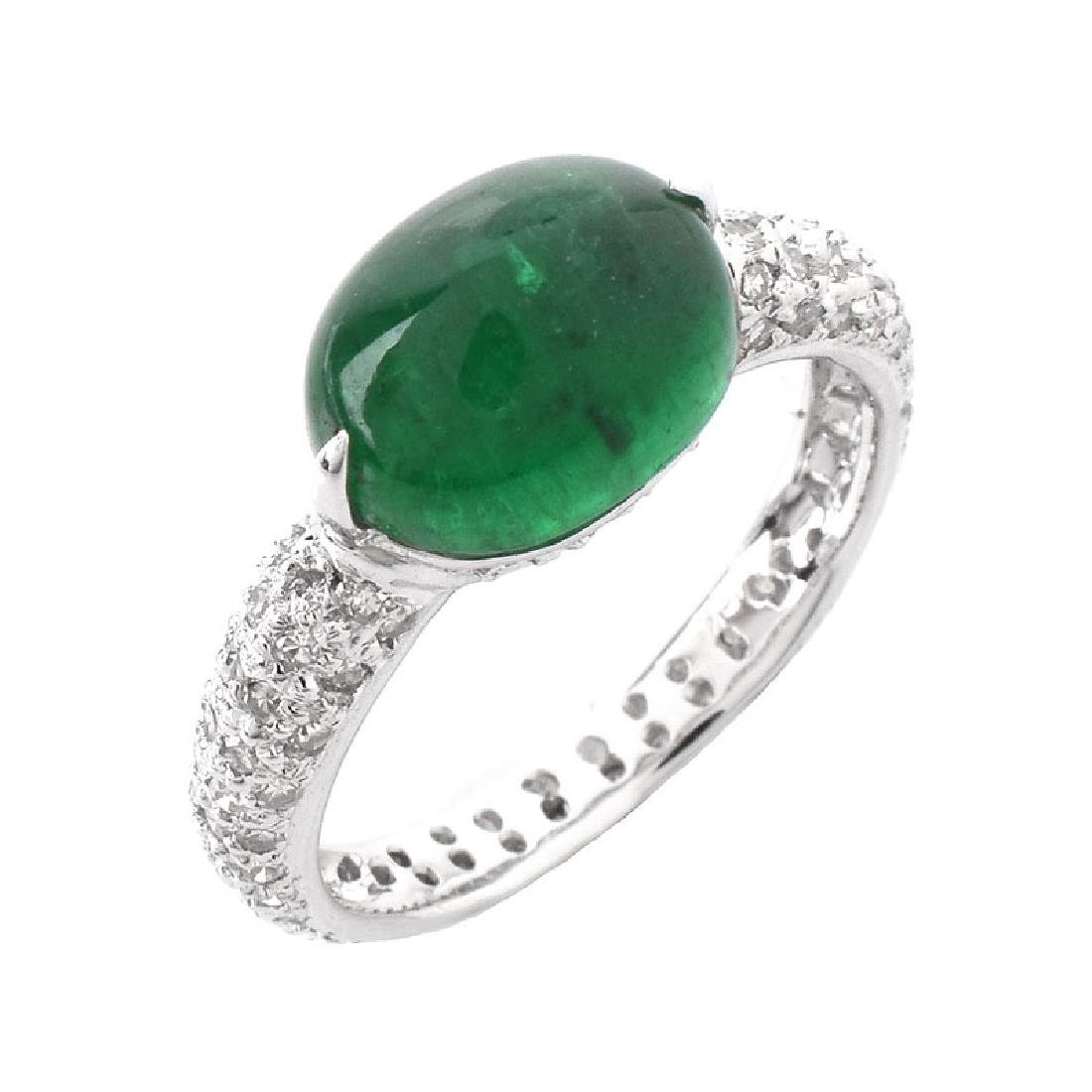 Vintage Approx. 3.34 Carat Oval Cabochon Emerald, .75