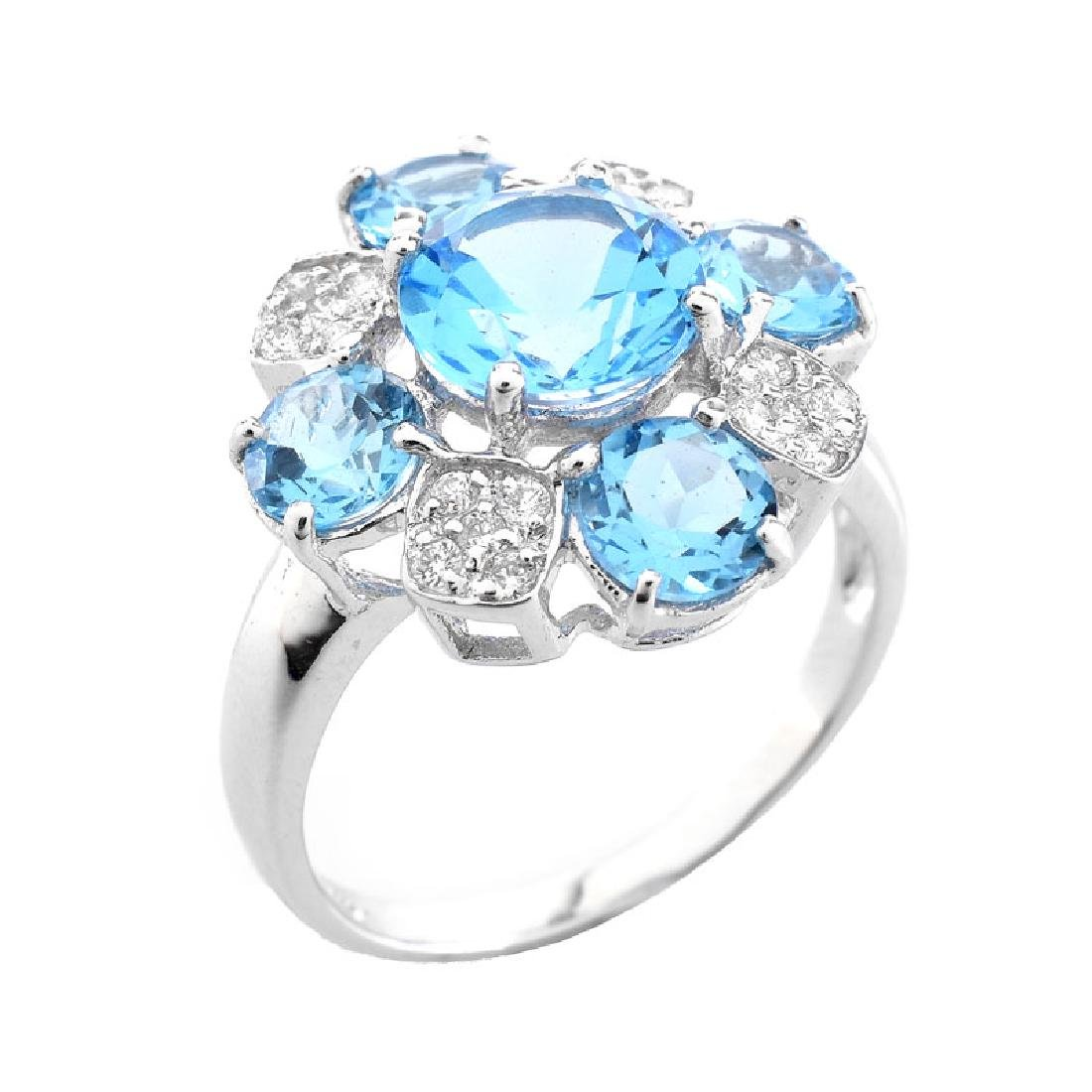 Approx. 4.86 Carat Round Cut London Topaz, Diamond and