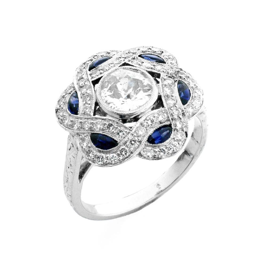 Art Deco style Diamond, Sapphire and Platinum Ring set