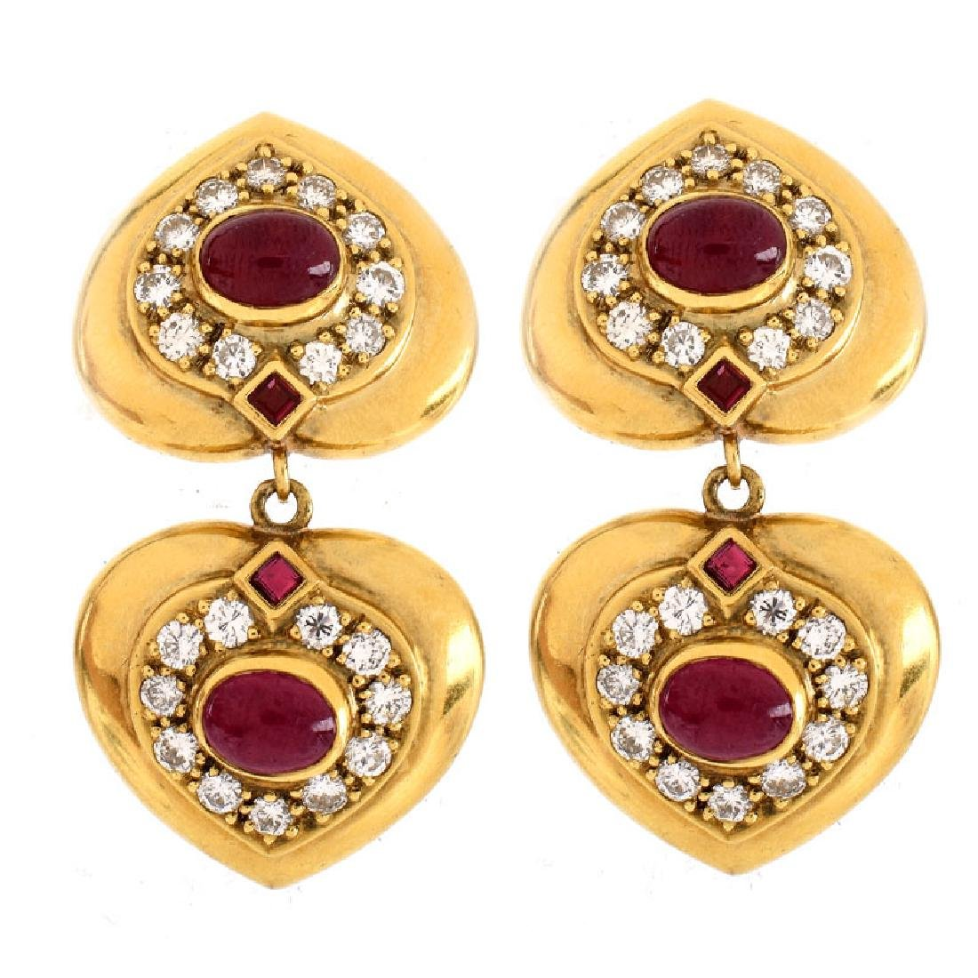 Vintage Cabochon Ruby, Pave Set Round Brilliant Cut