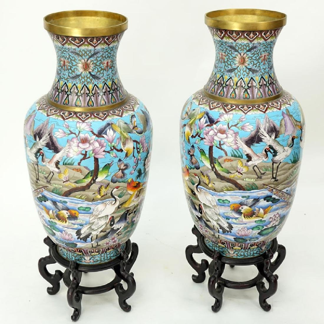 Pair of Large Chinese Cloisonné Vases. Various birds,