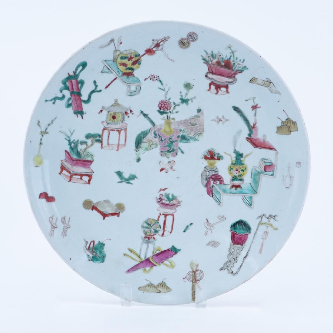 Chinese Famille Rose Hand Painted Porcelain Charger.