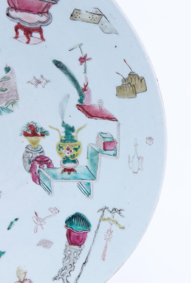 Chinese Famille Rose Hand Painted Porcelain Charger. - 3