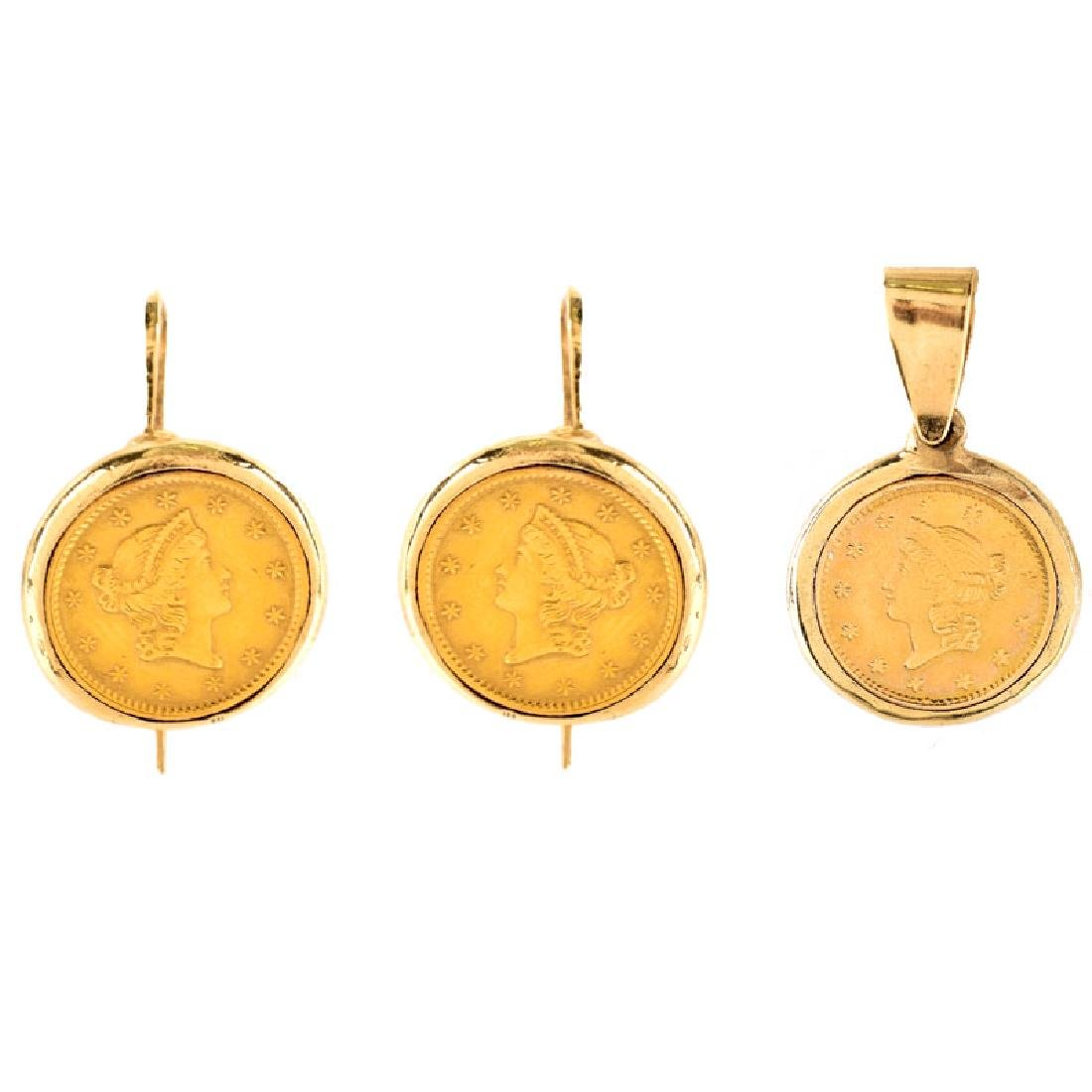 Three (3) Piece US $1 Gold Coin and 14 Karat Yellow