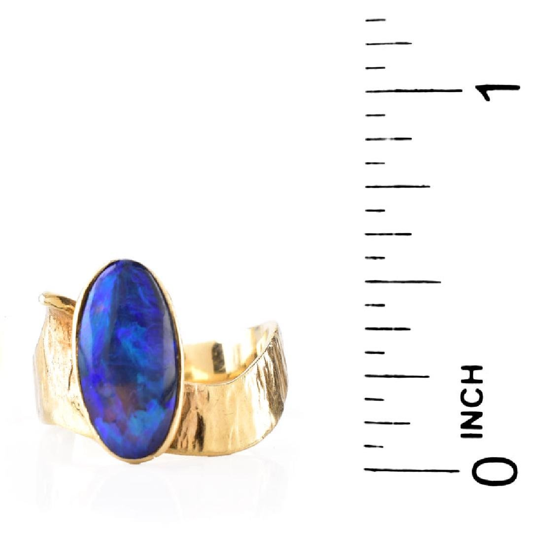 Vintage Oval Cabochon Black Opal and 14 Karat Yellow - 6