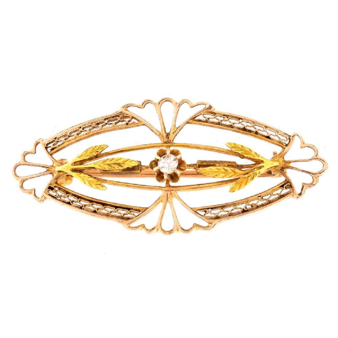 Antique 12 Karat Yellow Gold Hinged Bangle Bracelet - 4