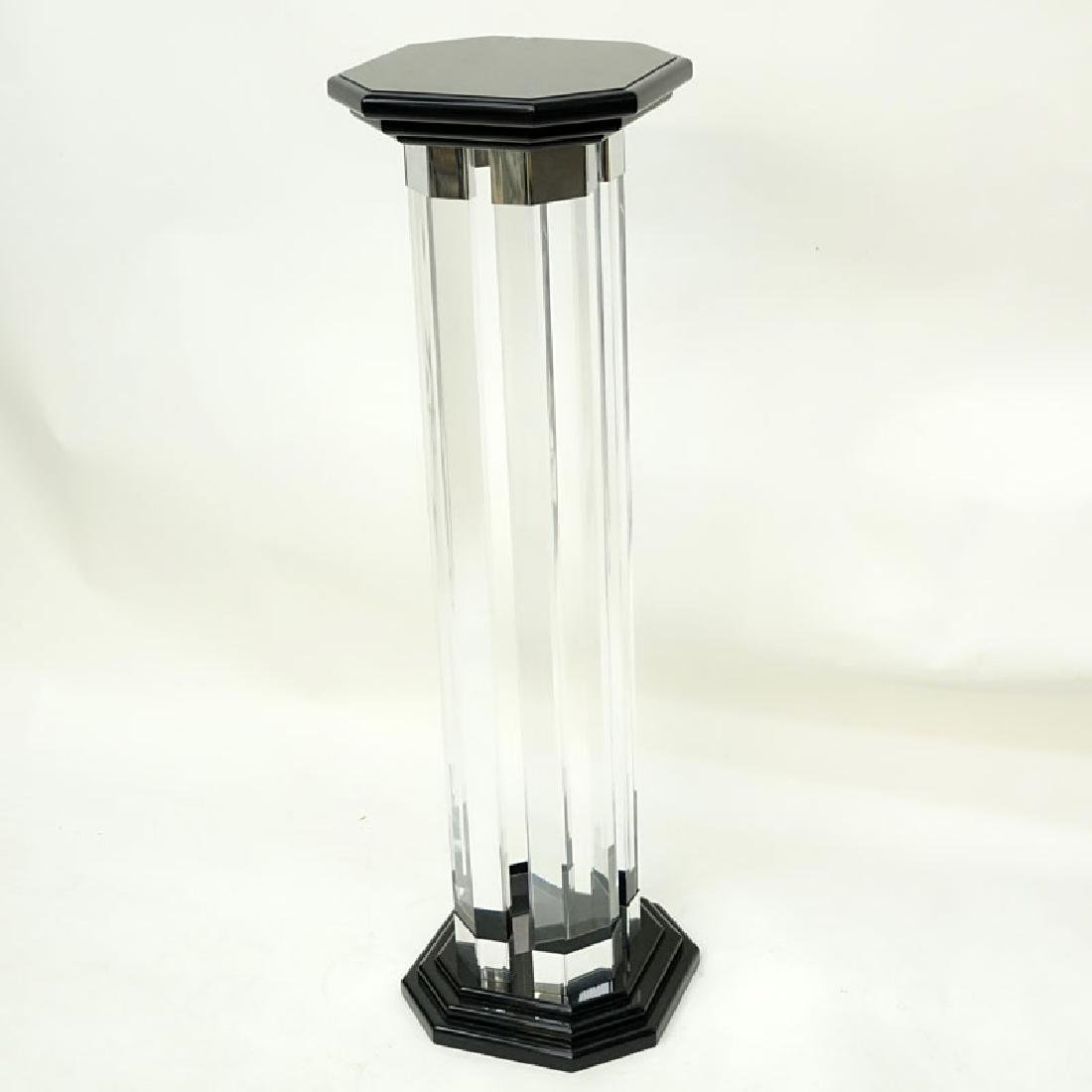 Mid Century Modern Lucite and Black Lacquer Pedestal.