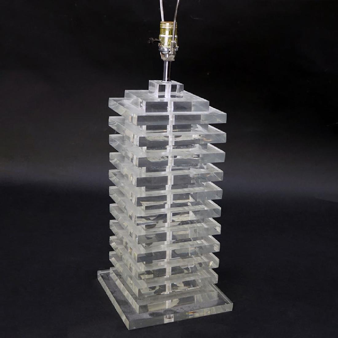 Mid Century Modern Stacked Lucite Lamp. Small nicks to