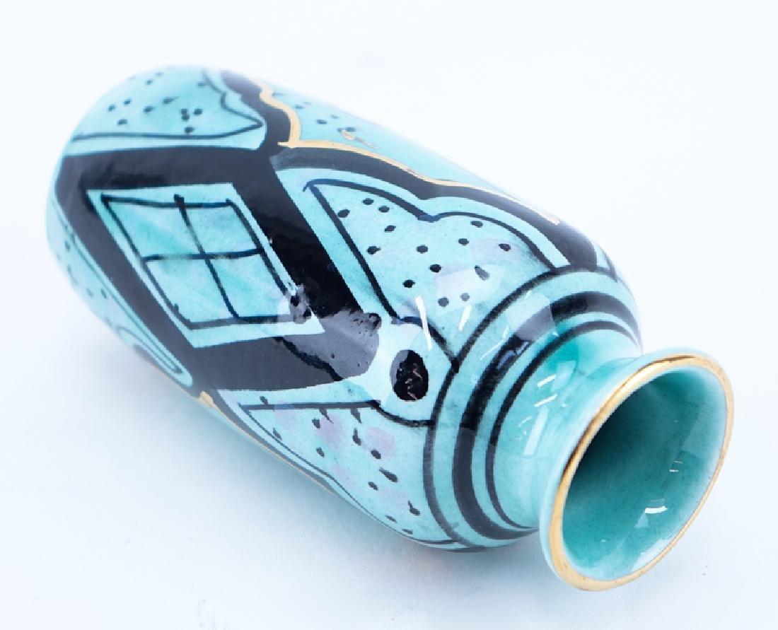 Art Deco Period Handpainted Ceramic Vase. - 2