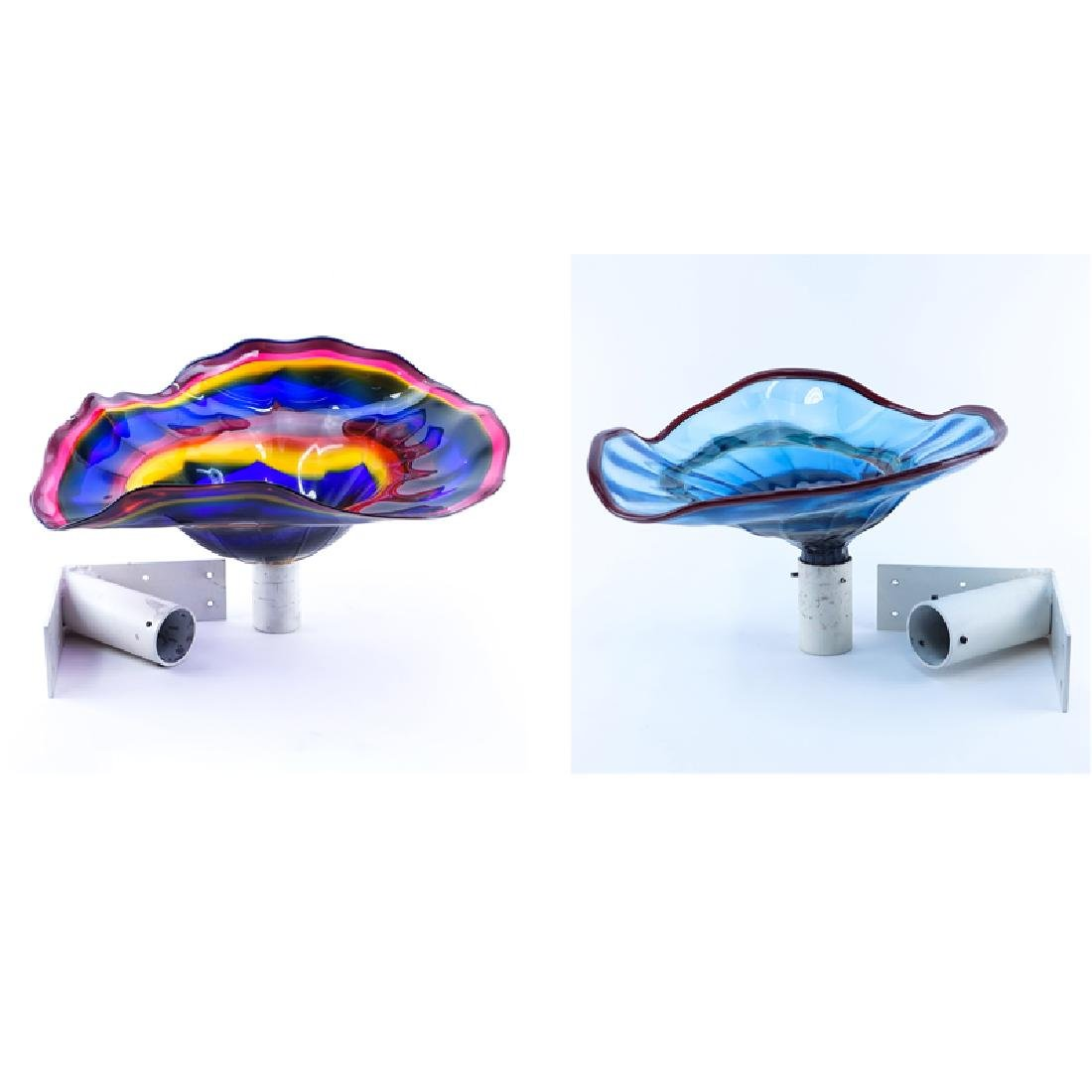 Pair of Large Hand Blown Art Glass Sculpture with Wall