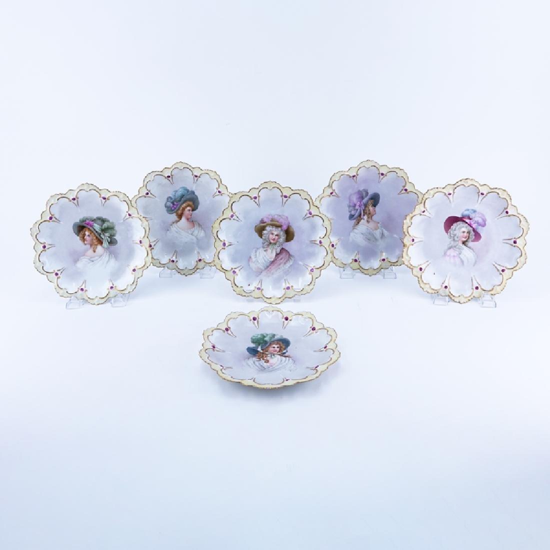 Set of Six (6) Antique MZ Austria Portrait Cabinet