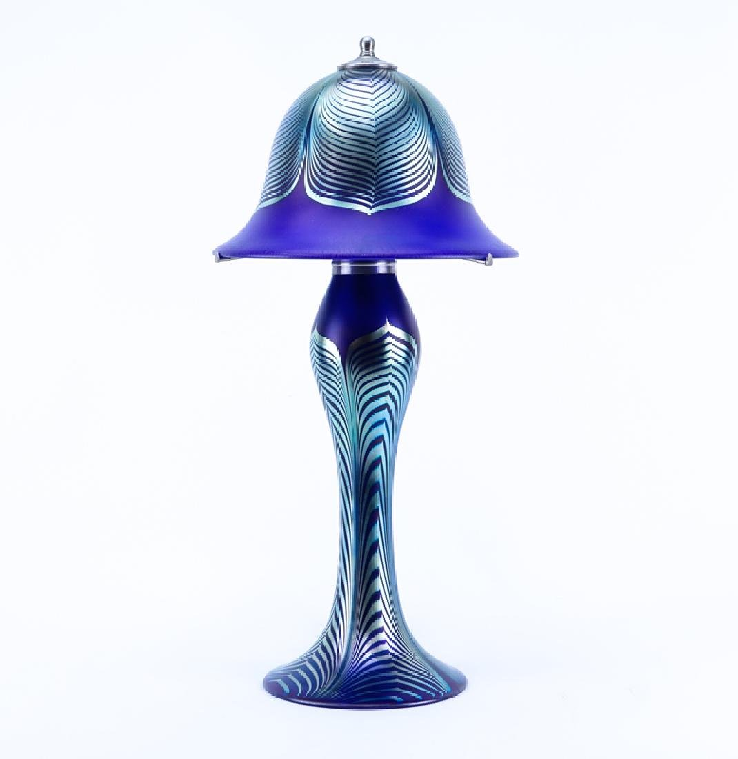 Large Vintage Correia Cobalt Blue Pulled Feather Art