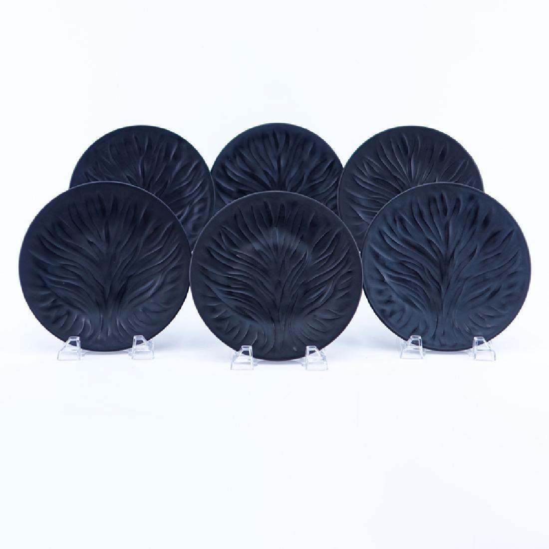 """Set of Six (6) Lalique """"Algues Noir"""" Glass Plates."""
