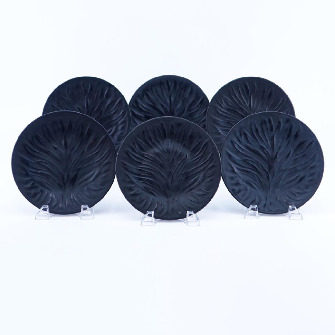 "Set of Six (6) Lalique ""Algues Noir"" Glass Plates."
