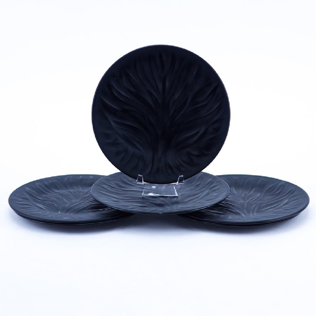 "Set of Six (6) Lalique ""Algues Noir"" Glass Plates. - 2"