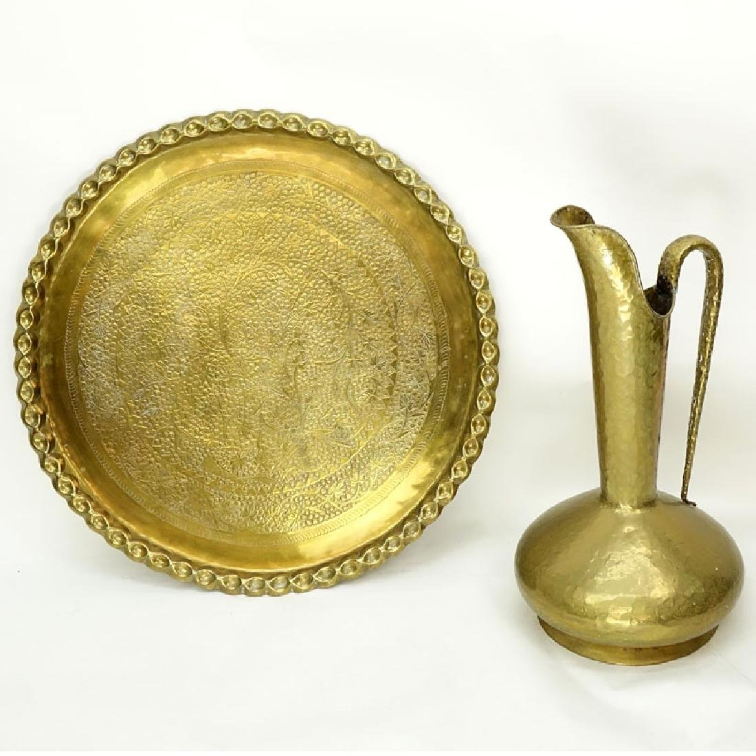 Grouping of Two (2): Large Brass Charger and Large