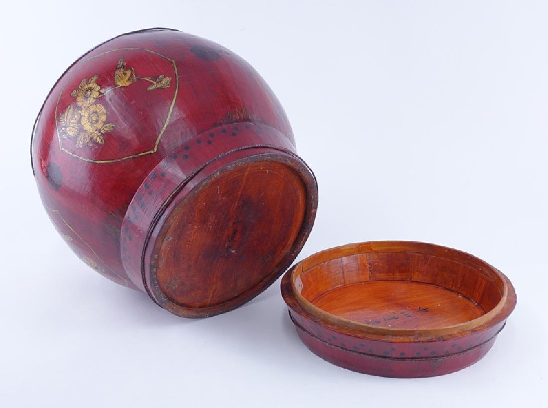 Chinese Red Lacquer Wood Covered Basket. Signed beneath - 3