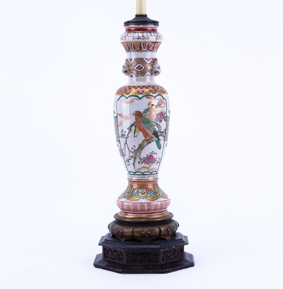 Antique Satsuma Hand Painted Porcelain Lamp with Birds