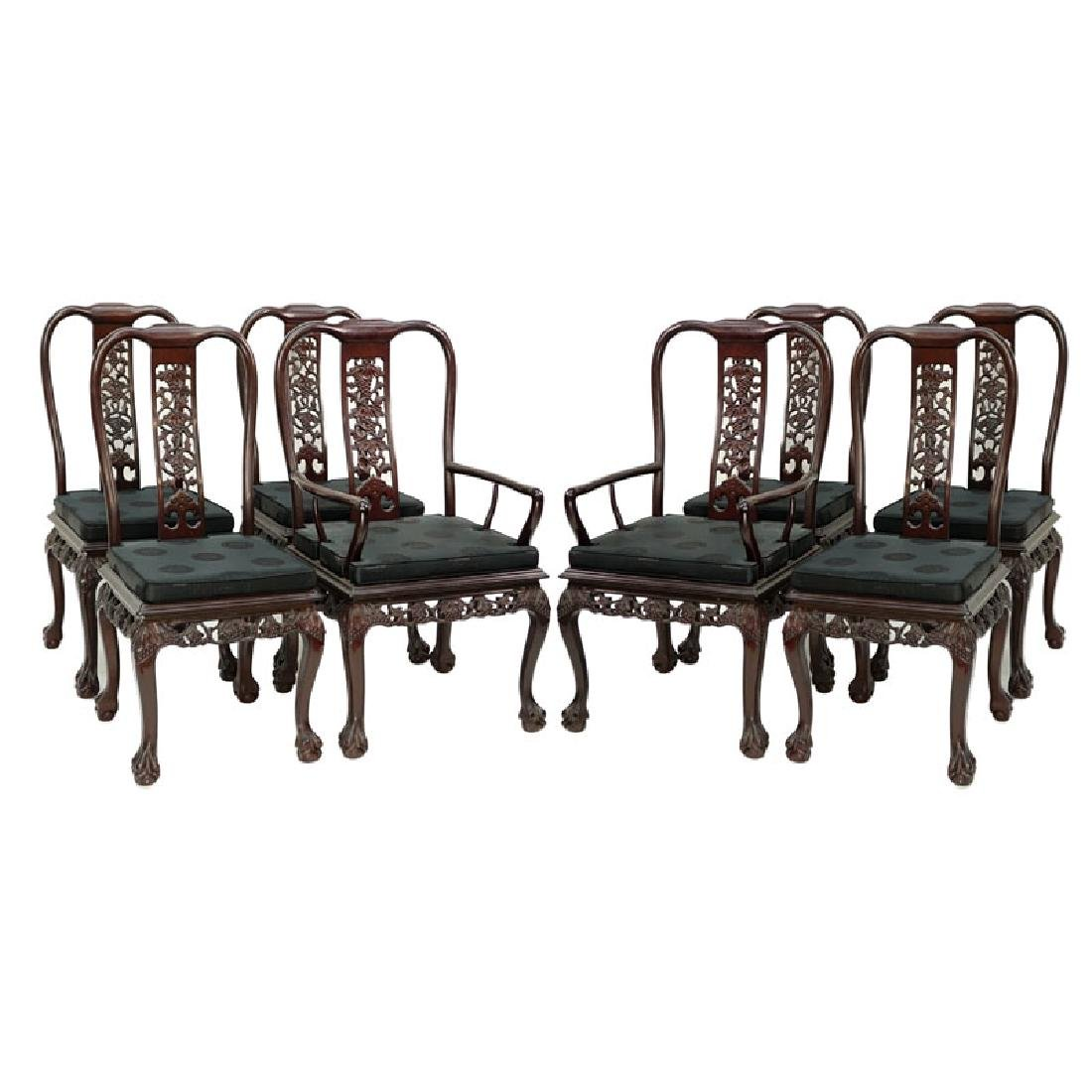 Set of Eight (8) Modern Chinese Carved Hardwood Chairs