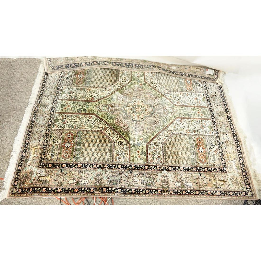 Large Persian Style Silk Rug. Label attached on