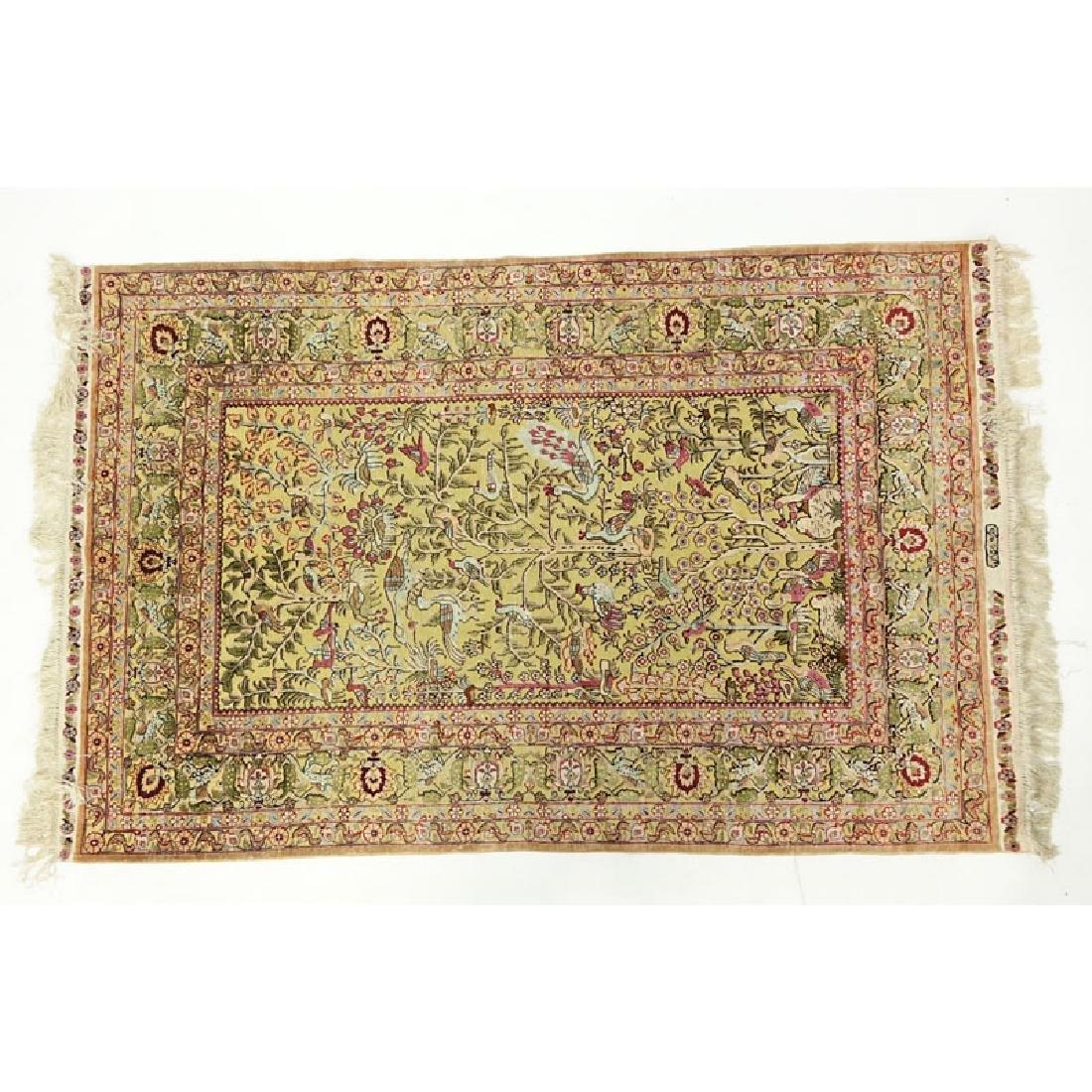 Semi Antique Gilt Persian Silk Rug.