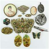 Lot of Thirteen (13) Vintage Costume Jewelry. Includes: