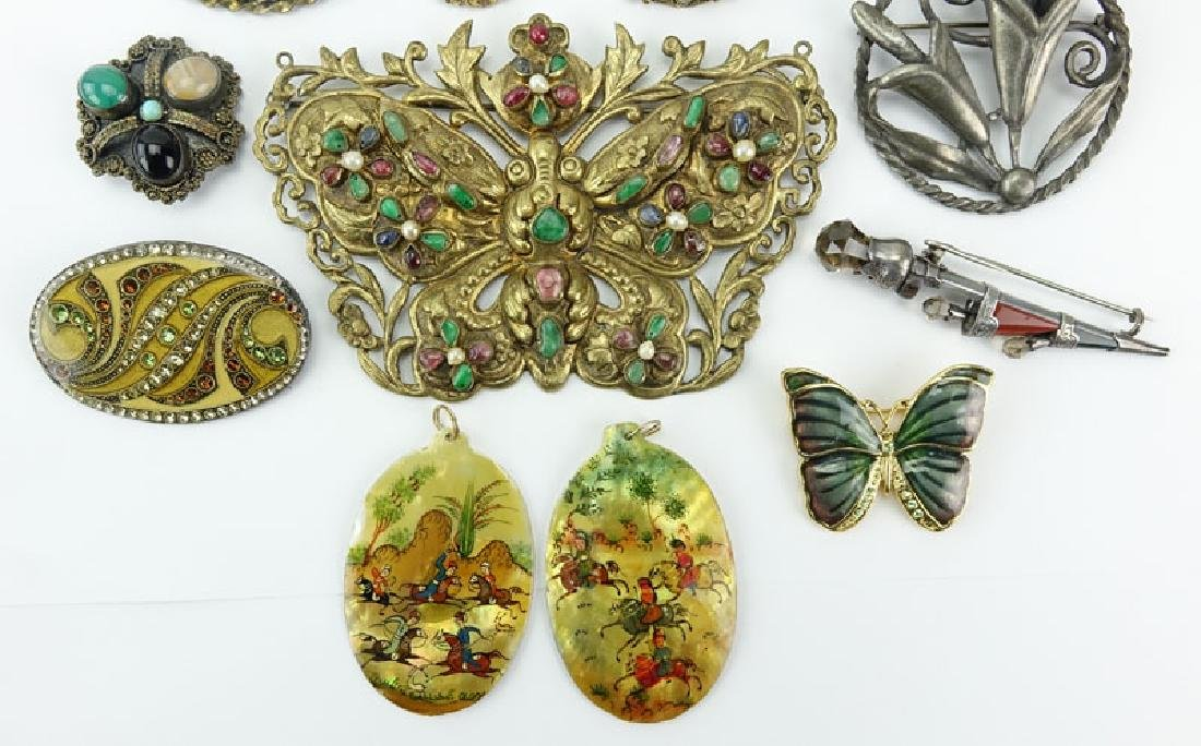 Lot of Thirteen (13) Vintage Costume Jewelry. Includes: - 2