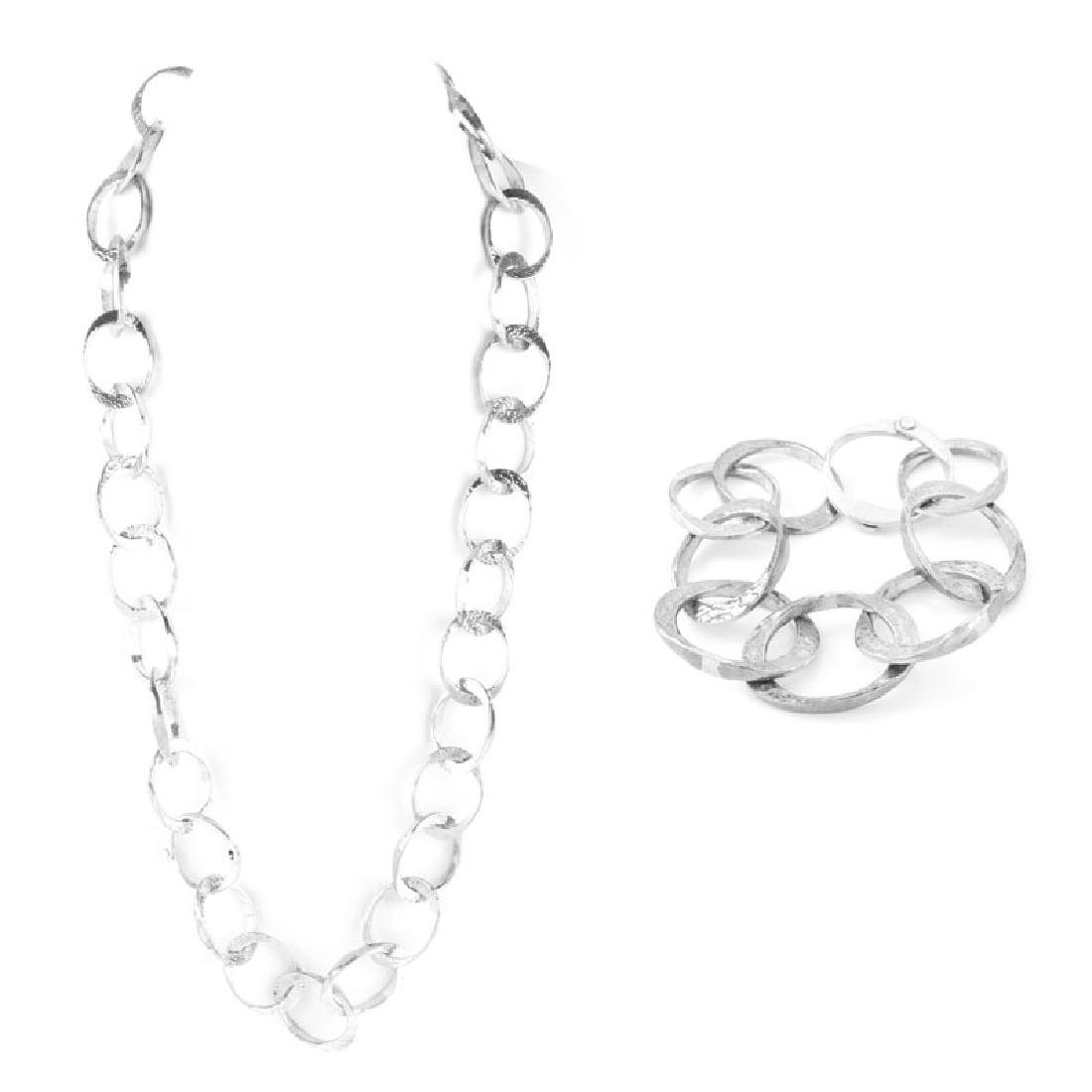 Retro Sterling Silver Necklace and Bracelet Suite.