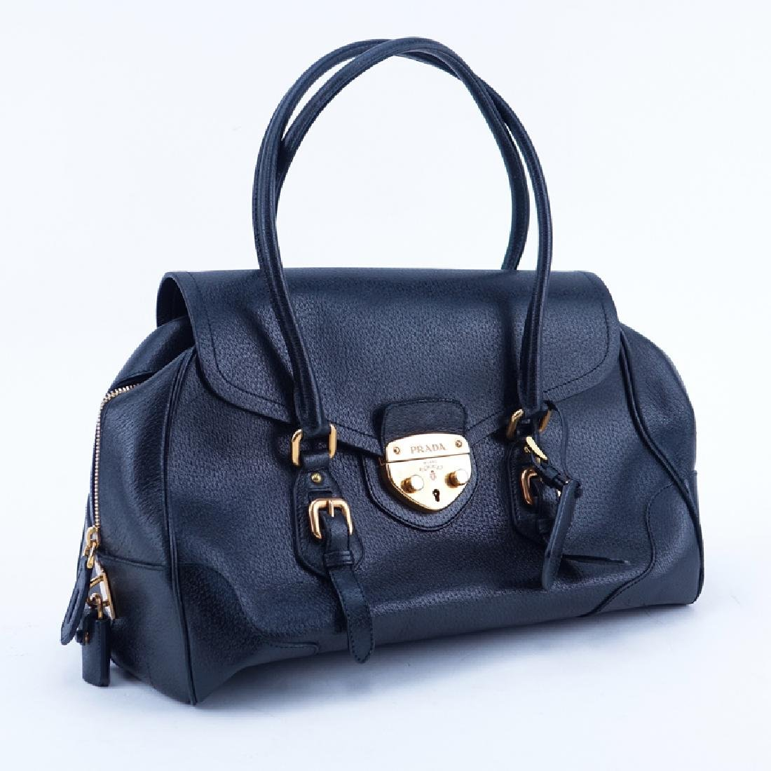 Prada Black Leather Handbag. Gold-tone hardware.