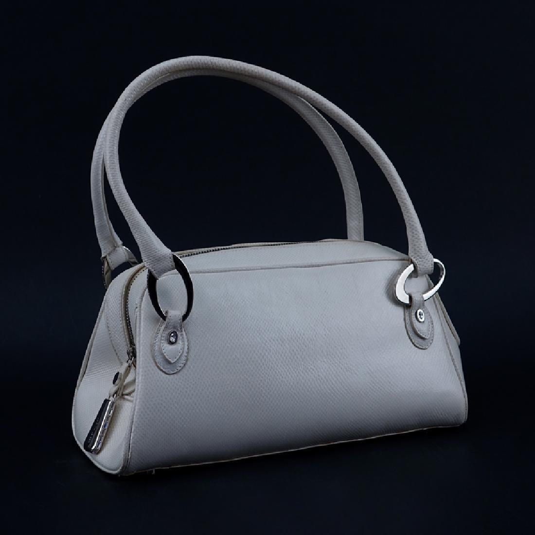 Judith Lieber White Snakeskin Handbag. Silver-tone