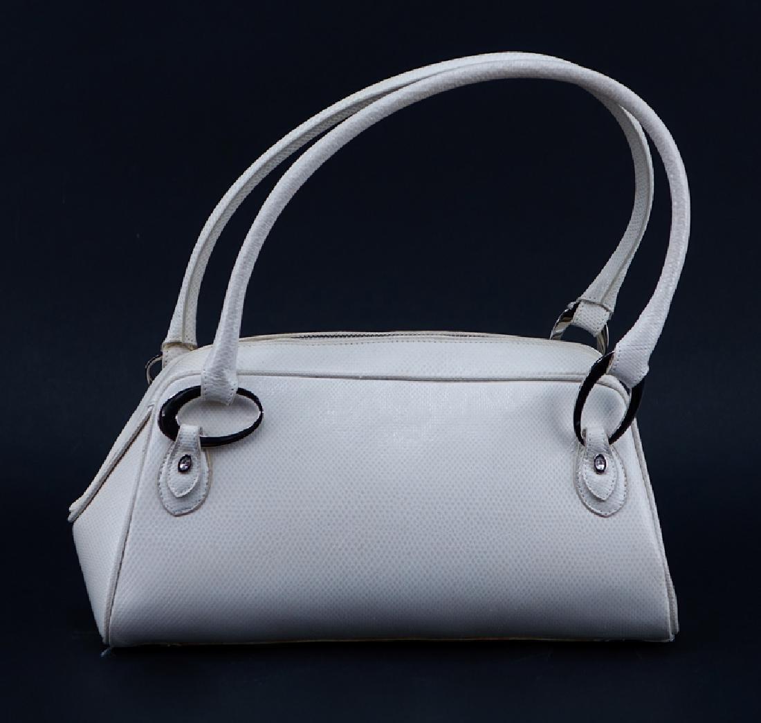 Judith Lieber White Snakeskin Handbag. Silver-tone - 2