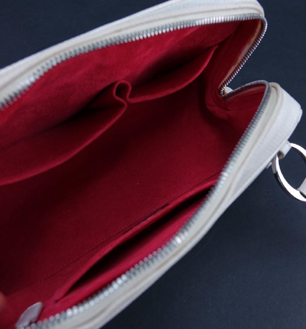 Judith Lieber White Snakeskin Handbag. Silver-tone - 4