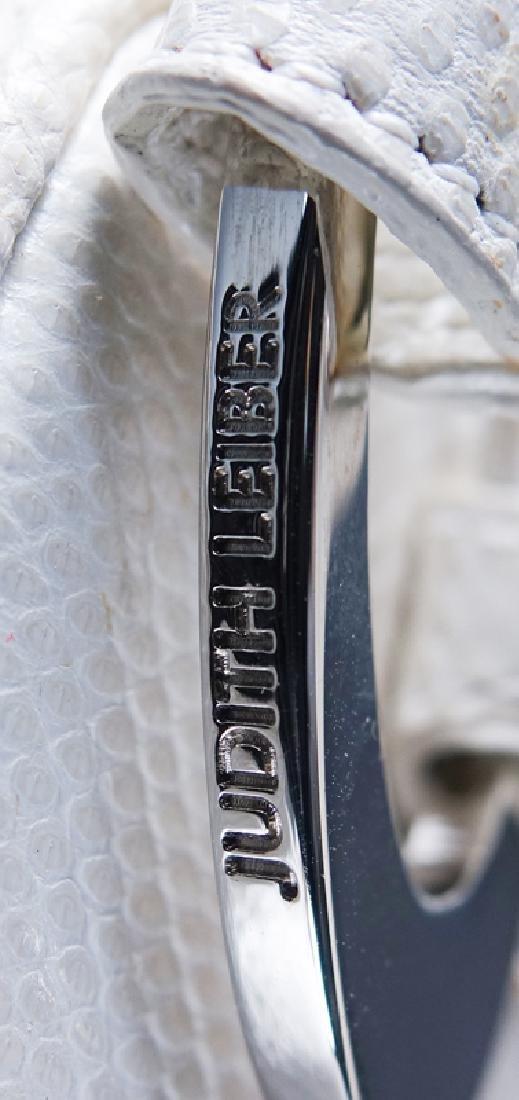 Judith Lieber White Snakeskin Handbag. Silver-tone - 6
