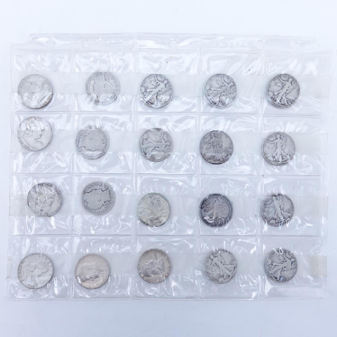 Sheet of Twenty (20): 1900 - 1965 U.S. Silver Half
