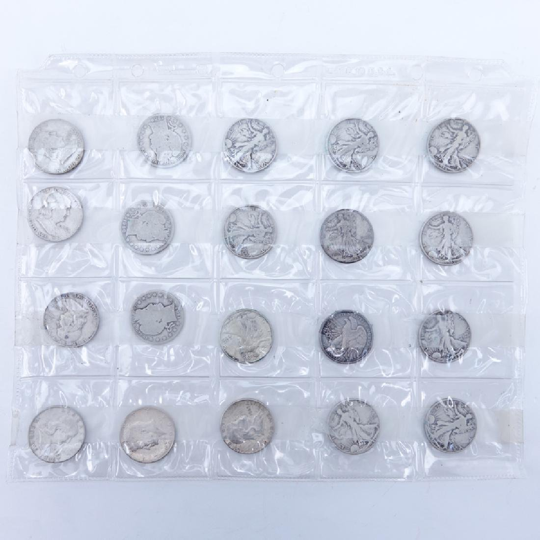 Sheet of Twenty (20): 1900 - 1965 U.S. Silver Half