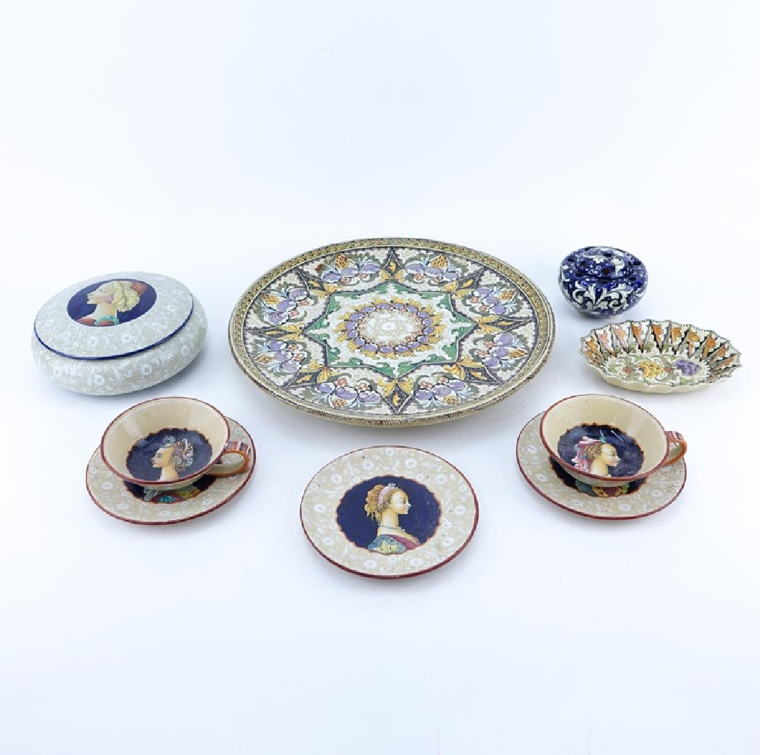 Grouping of Nine (9) Italian Majolica Ceramic Table Top
