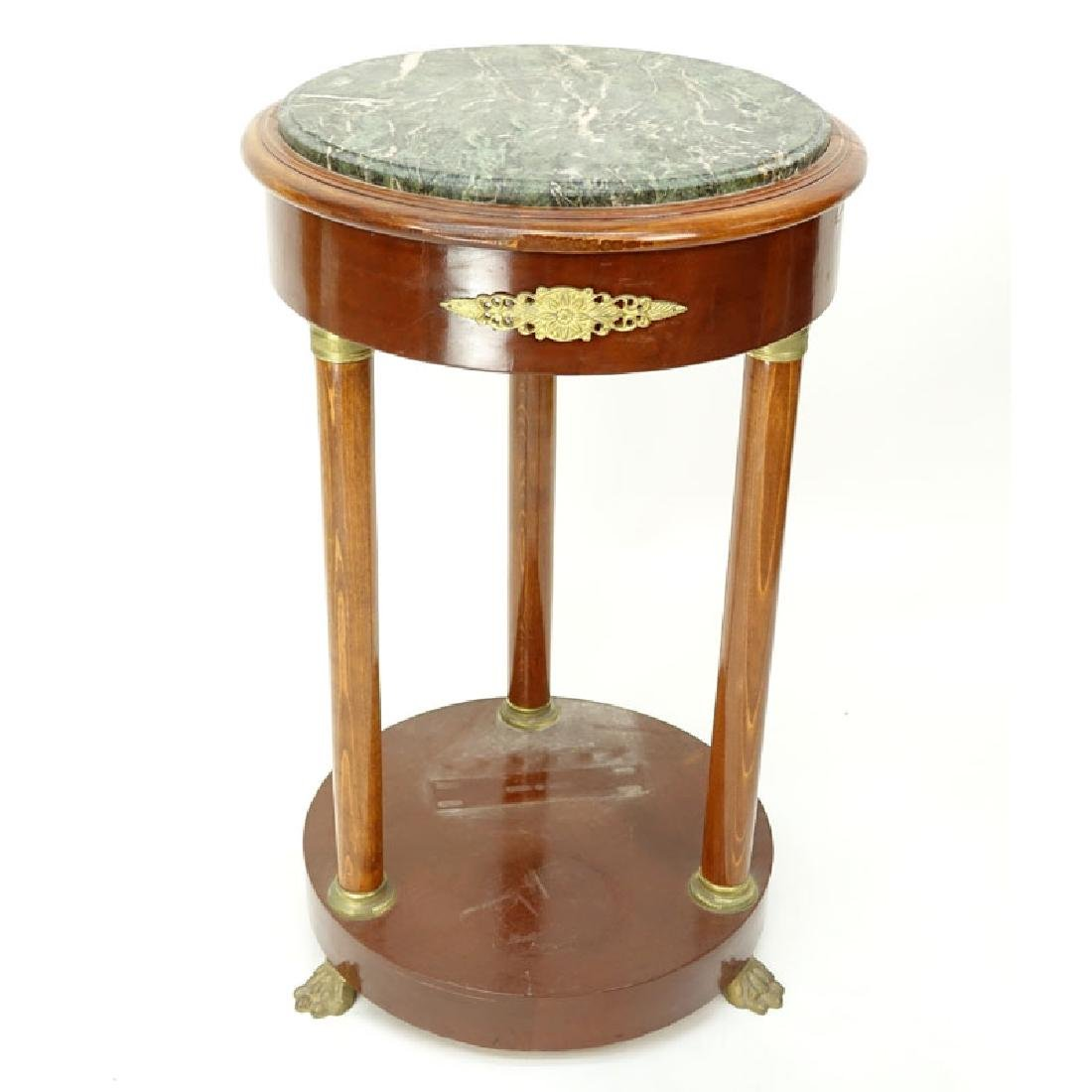20th Century Empire Style Round Marble Top Table. Gilt
