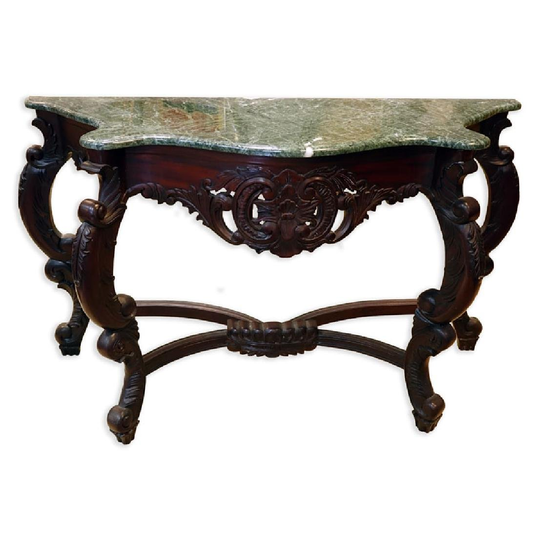 20th Century Carved Mahogany, Marble Top Console Table.