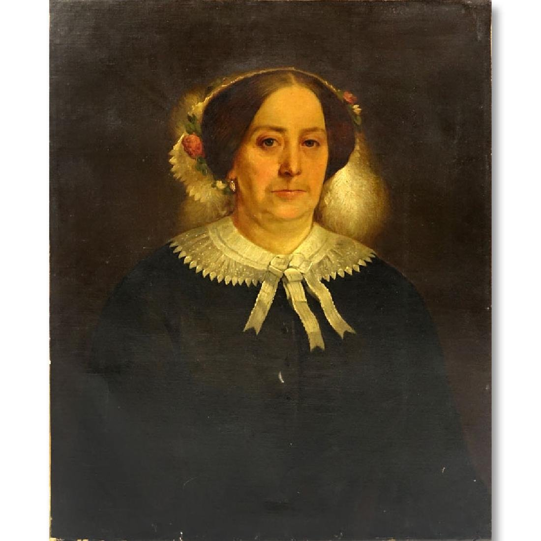 Circa 1840 American Oil on Canvas, Portrait of a Lady.