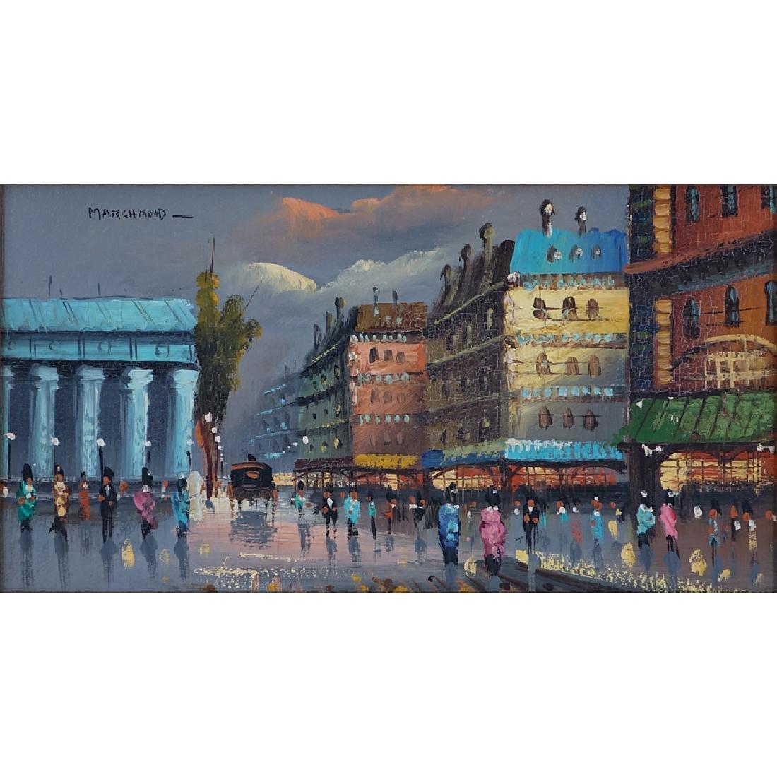 Marchand (20th C.) Oil on Board, Paris Street Scene,