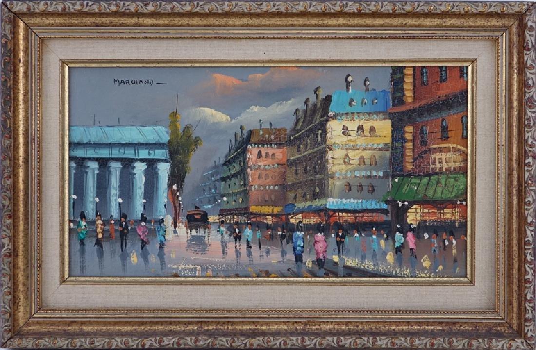 Marchand (20th C.) Oil on Board, Paris Street Scene, - 2