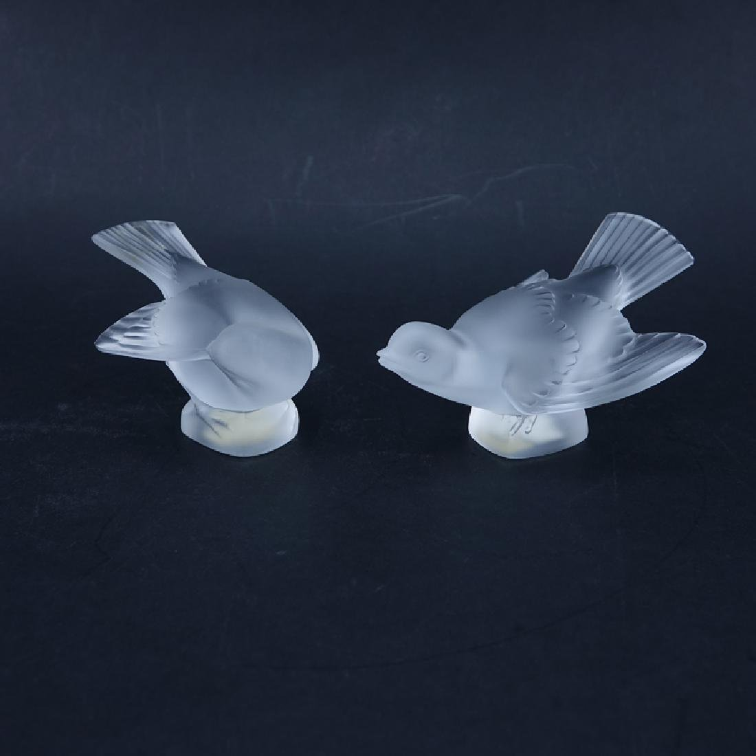 Two (2) Lalique Frosted Crystal Bird
