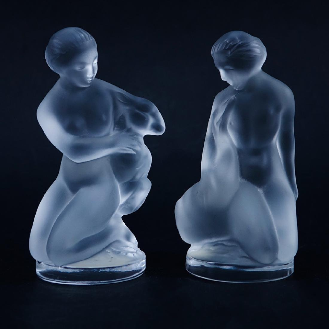 Two (2) Lalique Frosted Crystal Figurines/Paperweights