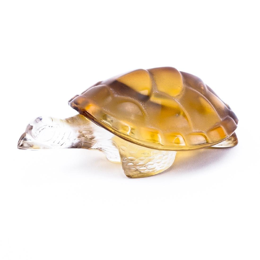 Lalique Amber Crystal Turtle Figurine/Paperweight.