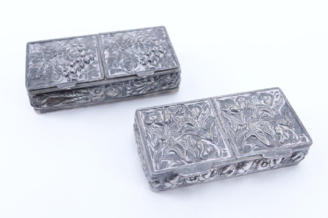 Collection of Six (6) Antique Silver Pill Boxes. - 3