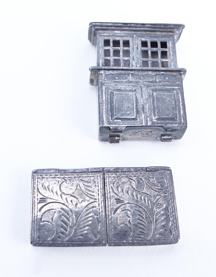 Collection of Six (6) Antique Silver Pill Boxes. - 5