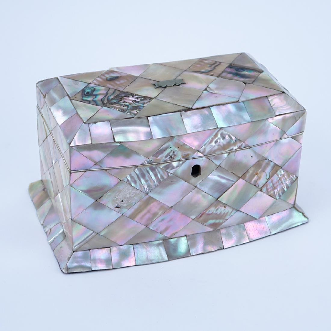 Antique English Mother of Pearl Paper Mache Tea Caddy.
