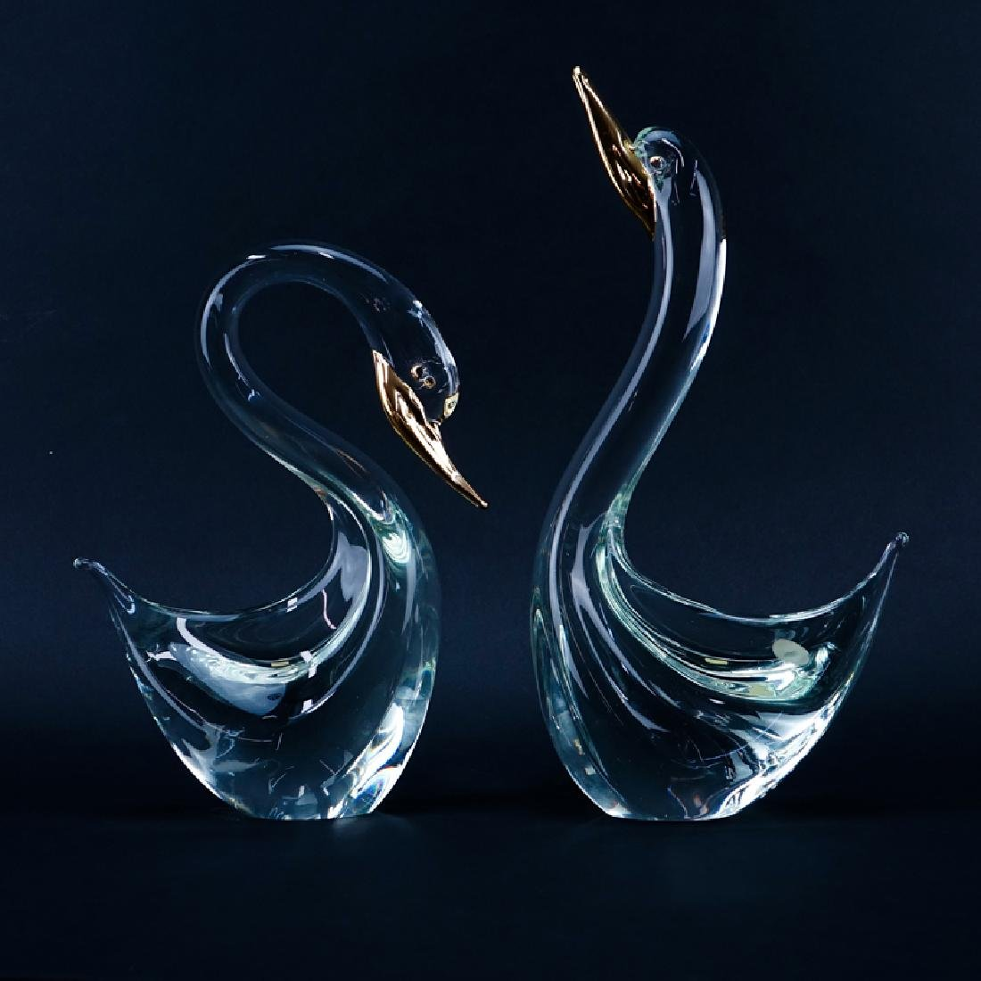 Two (2) Murano Art Glass and Gilt Painted  Swan